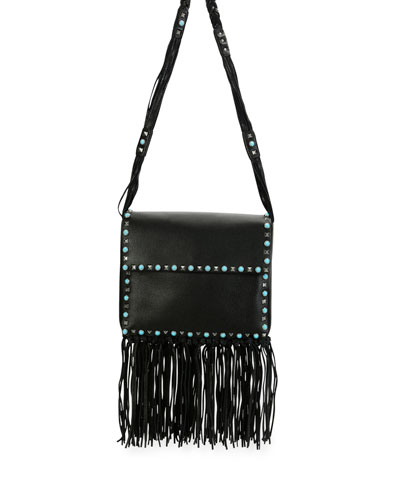 Rockstud Rolling Fringe Shoulder Bag, Black