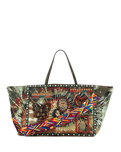 Rockstud Rolling Large Beaded Tie-Dye Tote Bag, Multi/Deep Army