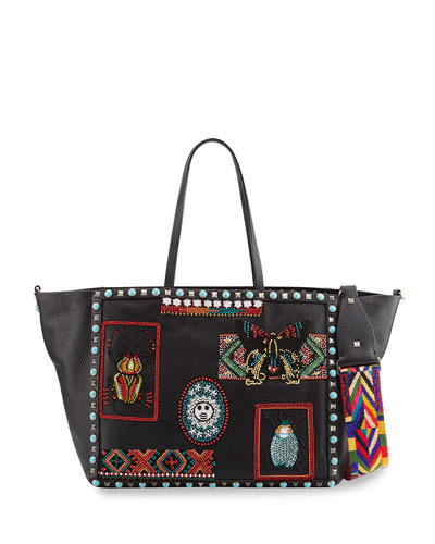 Rockstud Rolling Medium Beaded-Patch Tote Bag, Black/Multi