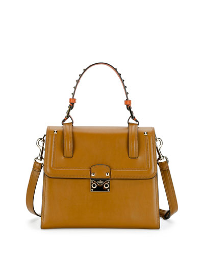 Cabana Medium Rockstud Top-Handle Satchel Bag, Bright Cuir/Orange