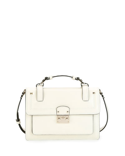 Cabana Top-Handle Medium Leather Lock Shoulder Bag, Light Ivory