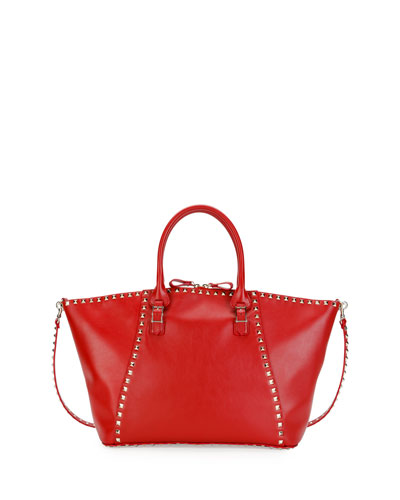 Rockstud Medium Top-Zip Leather Tote Bag, Red (Rosso)