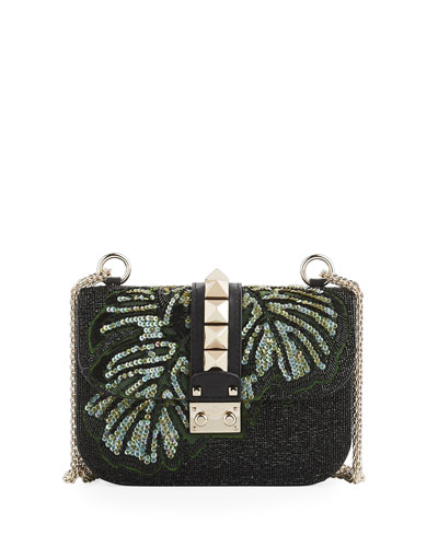 Lock Small Floral Shoulder Bag, Black/Multi