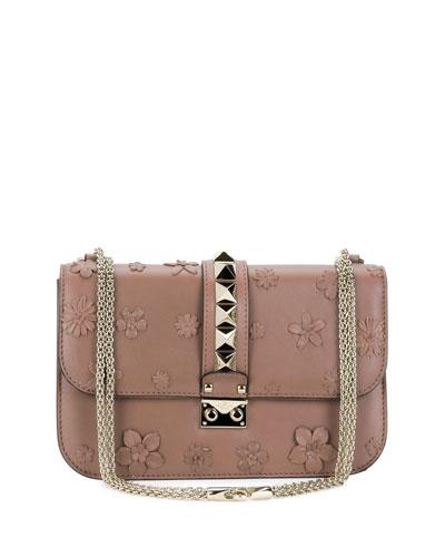 Lock Medium Floral Shoulder Bag, Light Pink