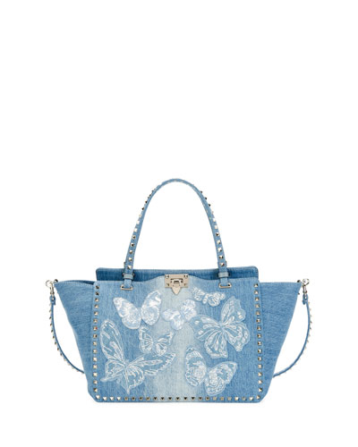 Rockstud Medium Butterfly Washed Denim Tote Bag, Light Denim