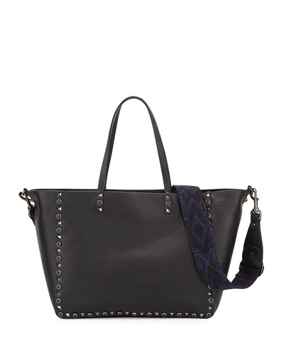 Rockstud Rolling Medium Reversible Tote Bag, Black