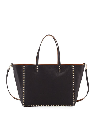 Medium Double Rockstud Reversible Tote Bag, Black/Bright Cuir