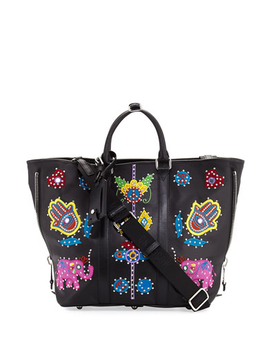 Embroidered Patchwork Tote Bag, Black/Multi