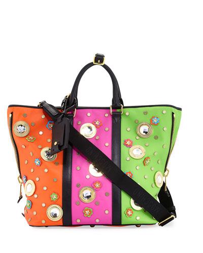 Trinket Colorblock Tote Bag, Multi