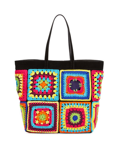 Crochet Patchwork Tote Bag, Multi