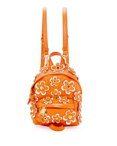 Flower Applique Small Backpack, Orange