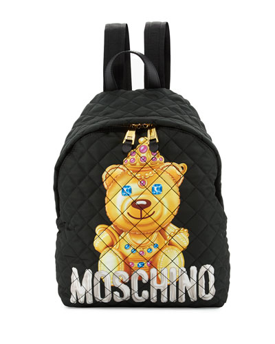 Teddy Bear Quilted Backpack, Black