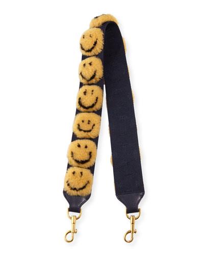 Pompom Smiley Shoulder Strap for Handbag, Mustard