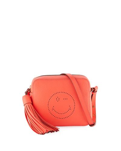 Wink Leather Tassel Crossbody Bag, Neon Coral