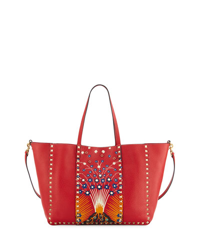 Rockstud Medium Volcano Tote Bag, Red/Multi