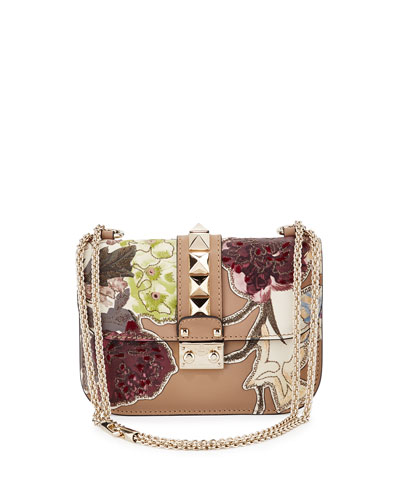 Lock Small Floral Leather Shoulder Bag, Alpaca Tan