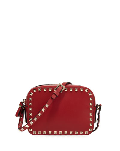 Rockstud Small Zip-Top Camera Crossbody Bag, Red