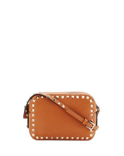 Rockstud Small Leather Zip-Top Camera Bag, Tan
