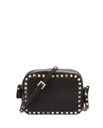 Rockstud Small Leather Zip-Top Camera Bag, Black