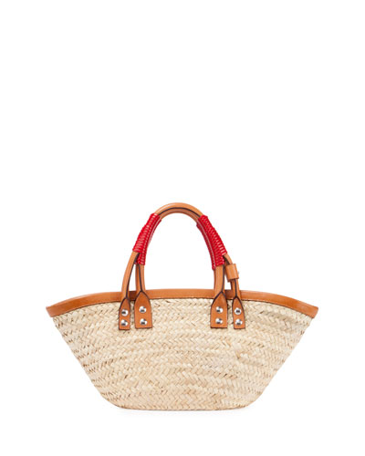 Bistro Panier Small Straw Tote Bag, Natural/Red