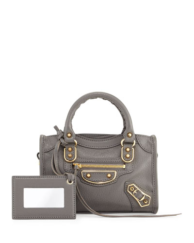 Classic Metallic Edge Nano City AJ Crossbody Bag, Dark Gray (Gris Acier)