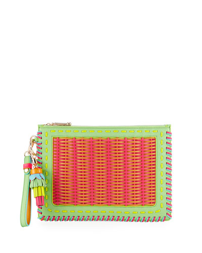 Flossy Woven Leather Pouch Bag, Magenta/Tangerine