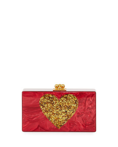 Jean Heart Box Clutch Bag, Red