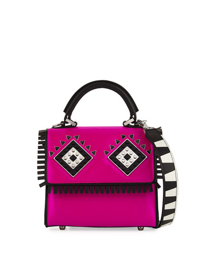 Micro Alex Metal Mask Satchel Bag, Fuchsia/Black