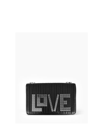Mini Janis Love Pleated Crossbody Bag, Black