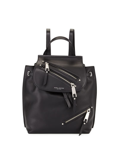 Zip Leather Flap Backpack, Black
