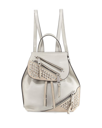 Studded Zip Leather Flap Backpack, Dove