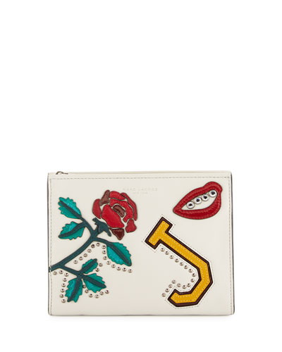 MJ Collage Leather Clutch Bag, Dove/Multi