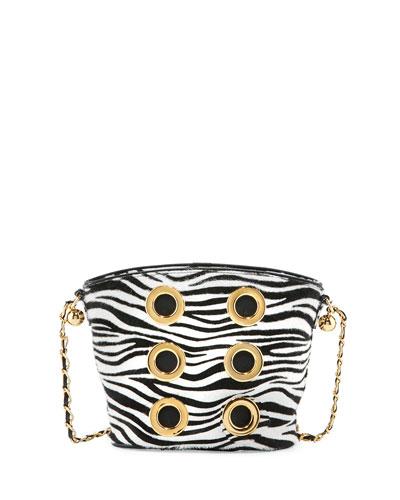 The Six Zebra Grommet Crossbody Bag, White/Black