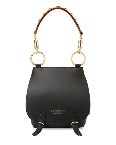 Bridle Grainy Leather Shoulder Bag, Black