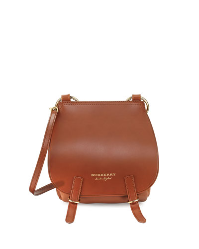 Bridle Grainy Leather Shoulder Bag, Tan