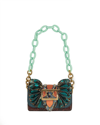 Bridle Baby Ruffled Snakeskin Shoulder Bag, Teal