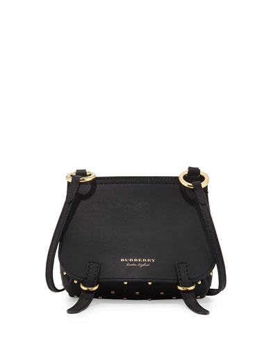 Bridle Baby Studded Leather Shoulder Bag, Black