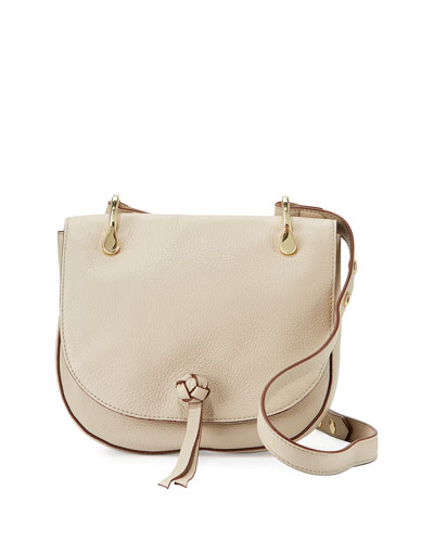 Zoe Leather Saddle Bag, Bone