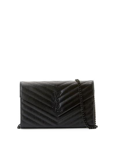 Monogram Matelassé Leather Wallet on Chain, Black