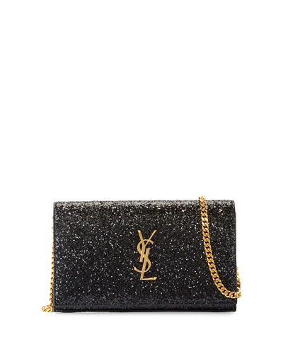 Monogram Small Glitter Wallet-on-Chain, Black