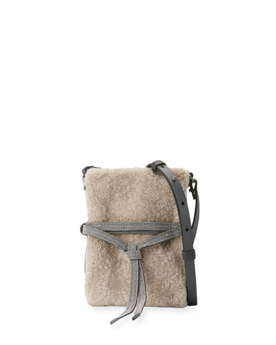 Monili-Trim Shearling Crossbody Bag, Tan