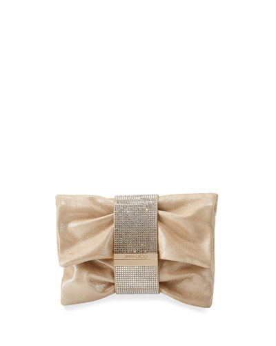 Chandra Small Crystal Clutch Bag, Sand
