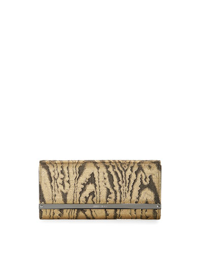 Milla Moire Flap Clutch Bag, Gold/Black