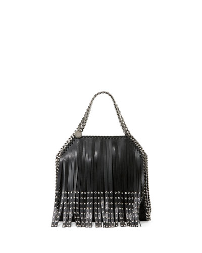 Falabella Mini Studded Fringe Tote Bag, Black