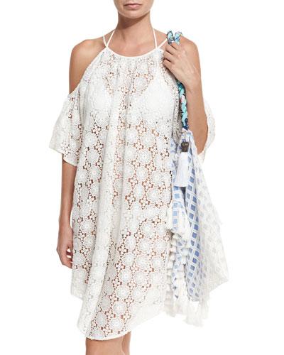 Sunset Crochet-Trim Tassel Beach Bag, Amazon Floral