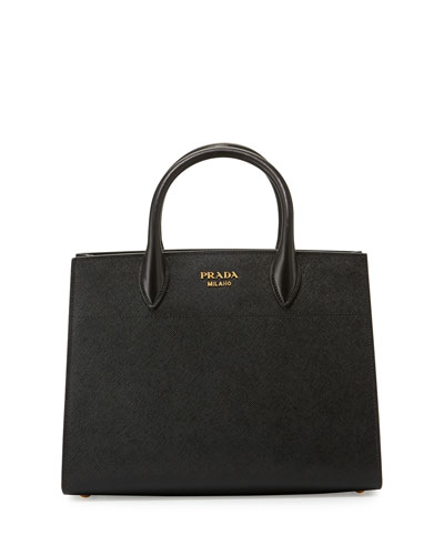 Bibliothèque Medium Saffiano Top-Handle Tote Bag, Black/White ...