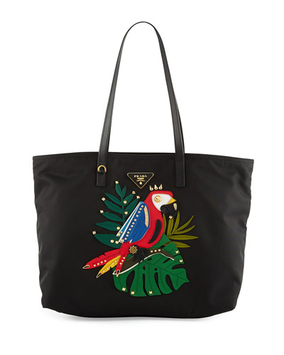 Tessuto Medium Parrot Shopping Tote Bag, Black/Multi