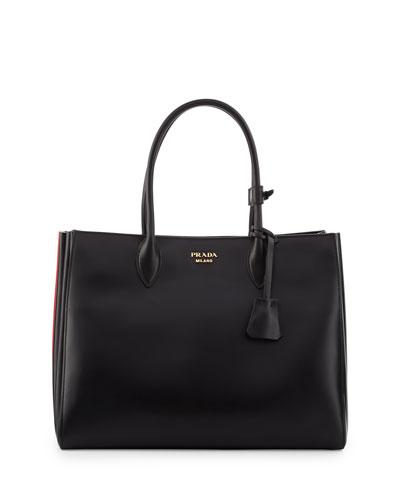 Bibliothèque XL Leather Tote Bag, Black/Red (Nero+Fuoco)