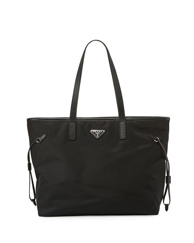 Vela Side-Cinch Shopping Tote Bag, Black (Nero)