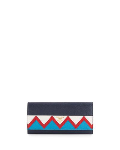 Saffiano Greca Flap Wallet, Blue/White/Red (Baltico+Bianco+Rosso)